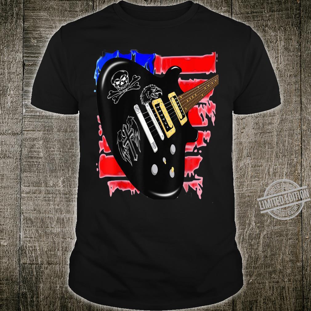 Elektrisch Gitarre mit US Grunge Flagge für Gitarrist Shirt